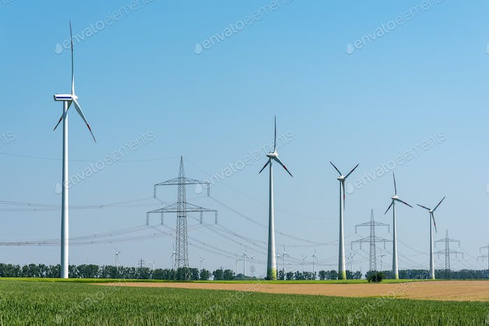 Overhead power lines and wind turbines