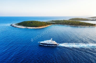 Yacht and sea. Sea landscape from the air. Croatia