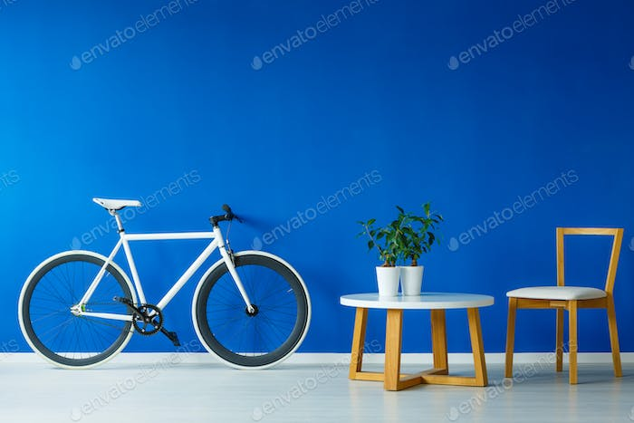 Bicycle in blue room