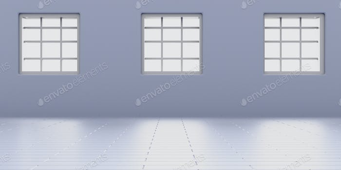Windows on blue wall and tiled floor. Apartment living room interior mock up. 3d illustration