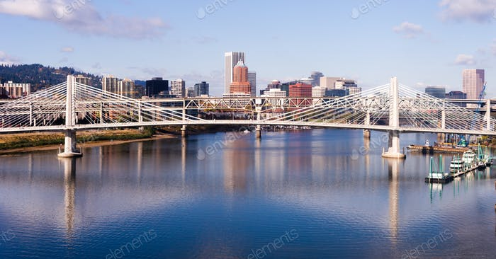 Transit Bridge Portland Oregon Downtown City Skyline Willamette