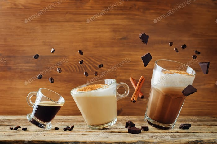 Different types of coffee with flying ingredients. Espresso, cap
