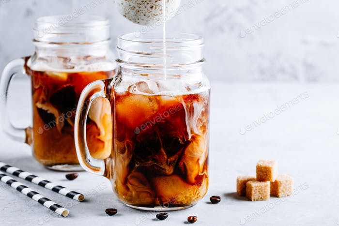 Coconut Milk Thai Iced Coffee with Coffee Ice Cubes