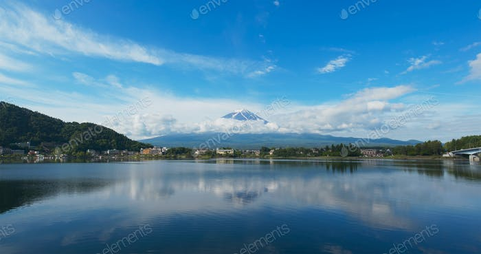 Fujisan in Kawaguciko of Japan at summer time