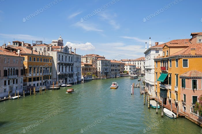 Grand Canal in Venice, clear blue sky in summer in Italy