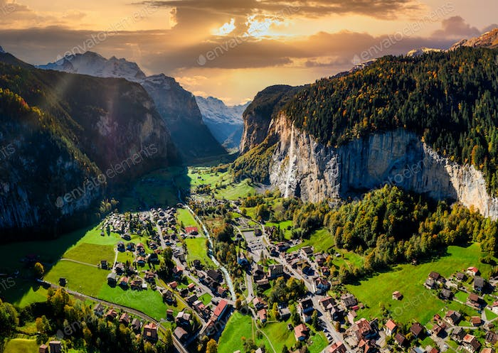 Famous Lauterbrunnen valley with gorgeous waterfall and Swiss Alps, Switzerland