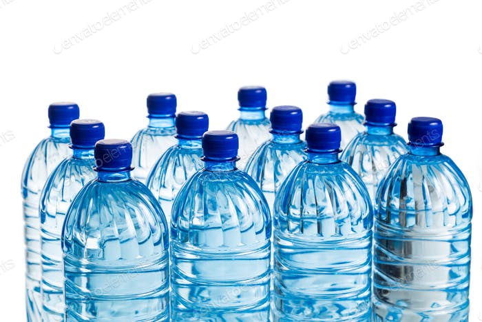 Closeup on rows of mineral water in plastic bottle