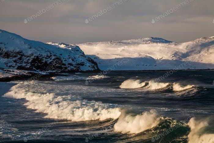 Sturm im Winter im Arktischen Ozean