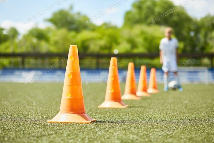 Row of Cones in Football Practice