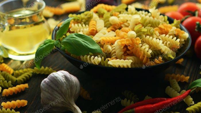 Big bowl of macaroni and vegetables