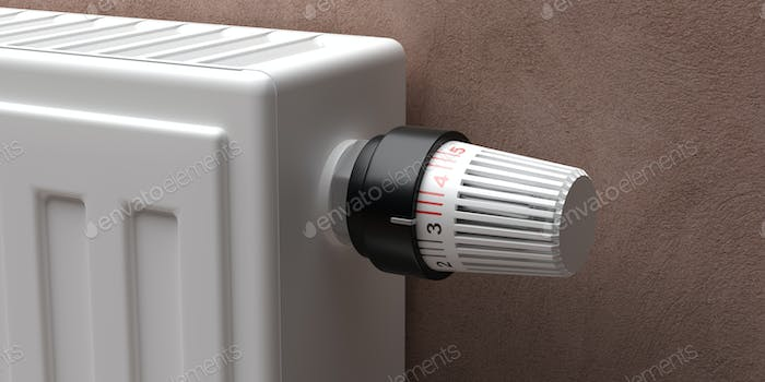 Radiator with thermostat closeup view. 3d illustration