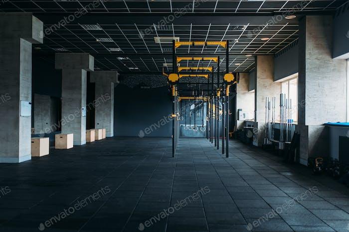 Gym nobody, gymnastic exercisers. Sport center