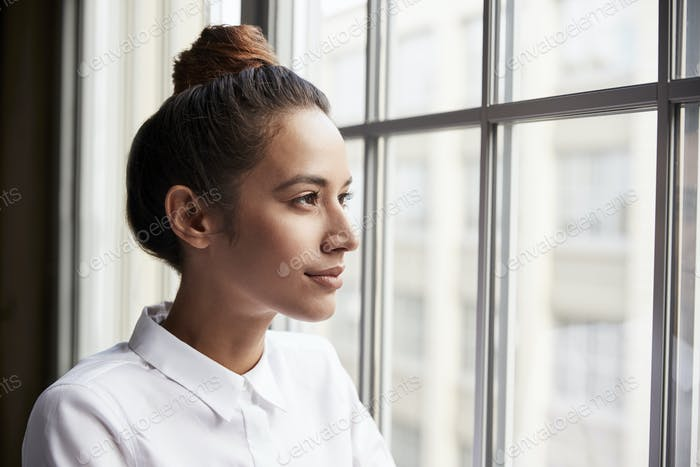 Молодая бизнесвумен с волосы булочка глядя из окна