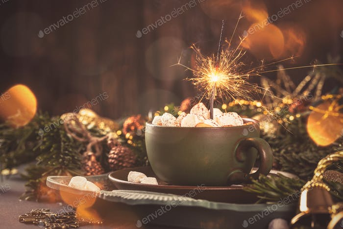 Christmas greeting card with hot chocolate milk