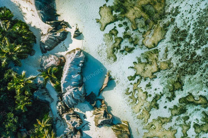 Seychelles, La Digue top down aerial view of tropical beach Anse Source D Argent