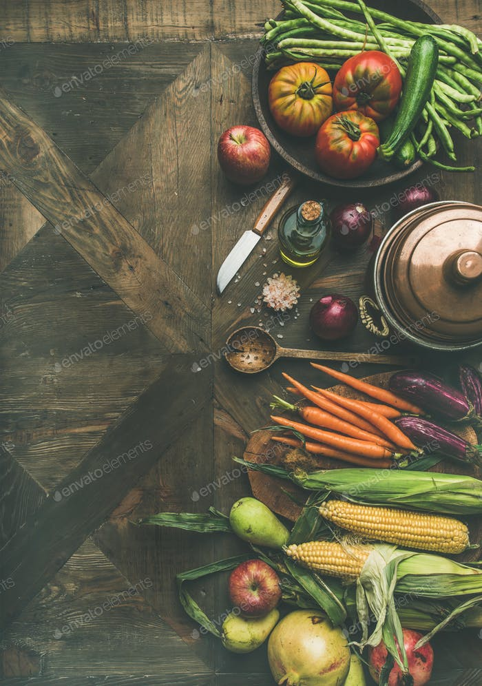 Autumn healthy ingredients for Thanksgiving day dinner preparation, copy space