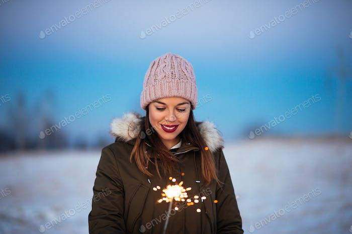 Holding a sparkler stick
