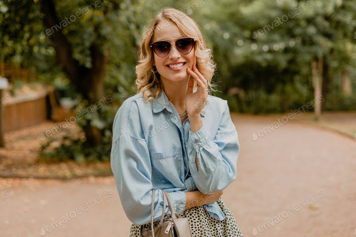 attractive woman walking in street