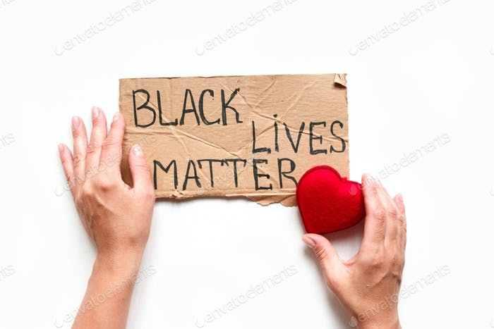 Black Lives Matter Protest Against Ending Racism Poster Over Human Rights Violation. The big hand is