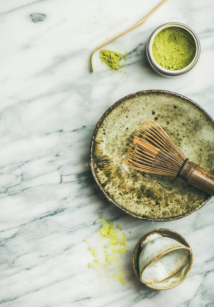 Japanese tools and cups for brewing matcha green tea