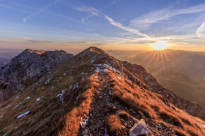 mountain landscape in sunrise
