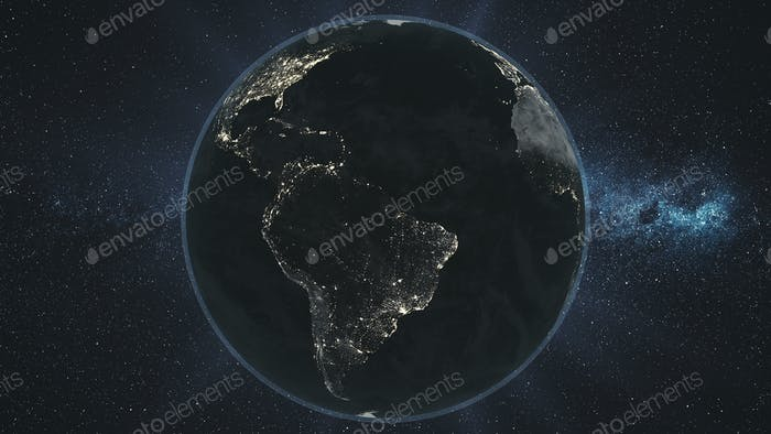 Earth night orbit rotate planet star background