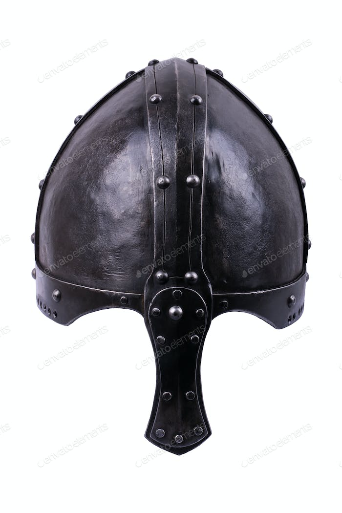 Steel knight helmet on a white background