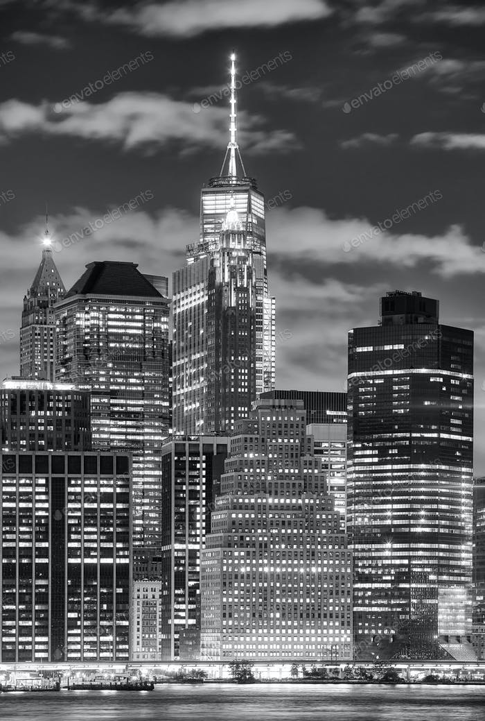 Manhattan skyscrapers at night, New York City, USA.