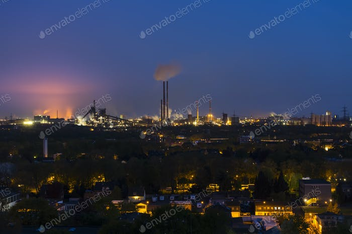 Glowing Steel Plant At Night