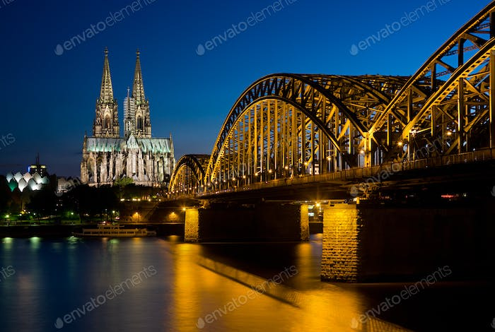 Cologne Cathedral And Bridge At Night, Germany
