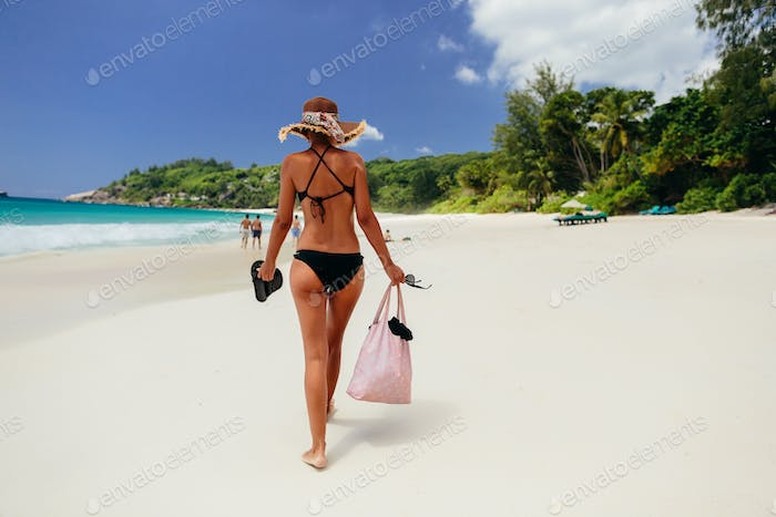 woman relax on beach of tropical island