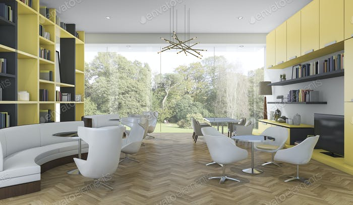 3d rendering yellow and black modern library with garden view