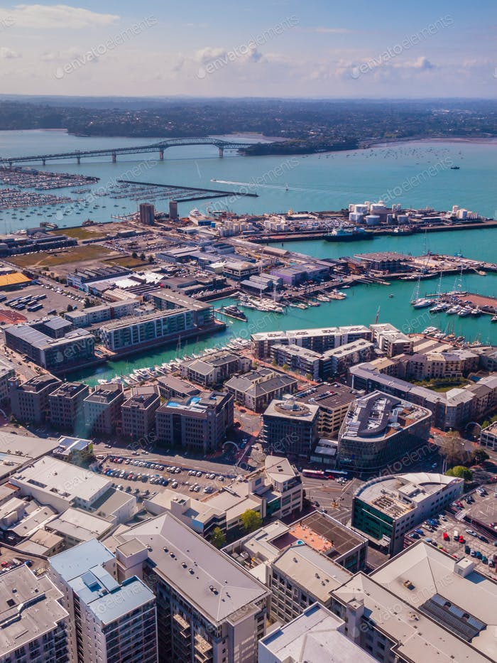 Auckland city harbor aerial view
