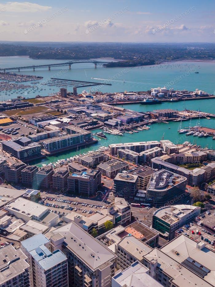 Aéreo del puerto de la Ciudad de Auckland