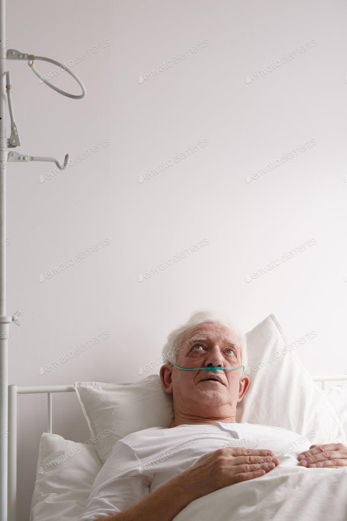 Patient staring at hospital ceiling