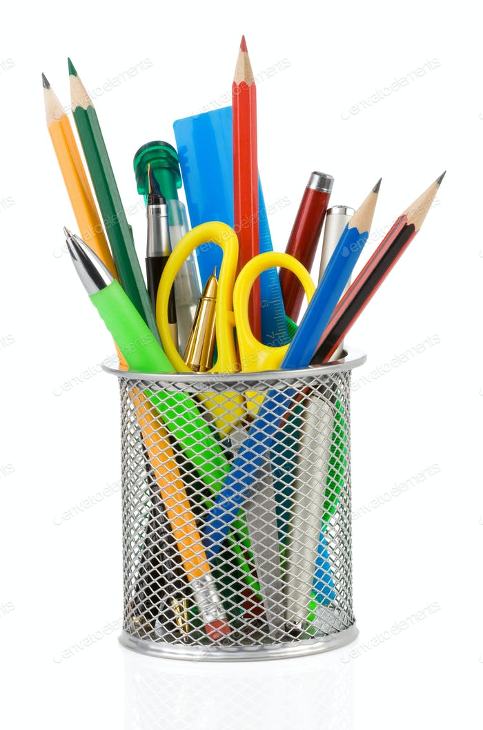holder basket and office supplies isolated on white