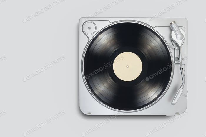 Turntable with long play or LP vinyl record with copy space.