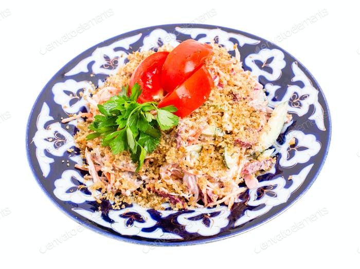 Delicious veal salad with vegetables.