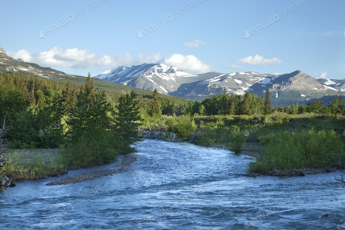 Mountains and the Two Medicine River Near Glacier National Park