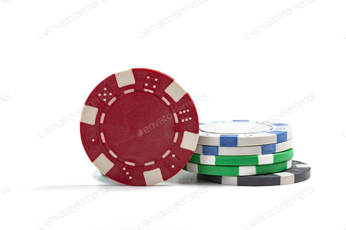 Casino Chips On White