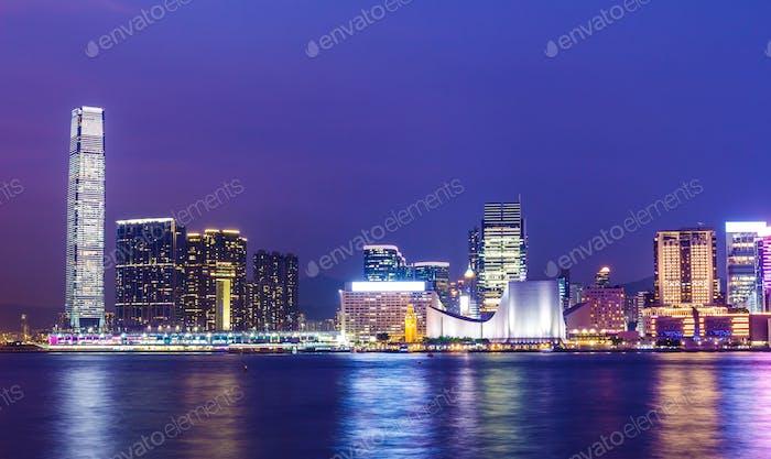 Kowloon skyline in Hong Kong