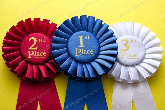 Three rosettes for the winner and runners up