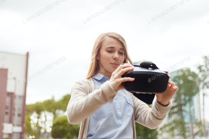 Modern technology vr headset in woman hands