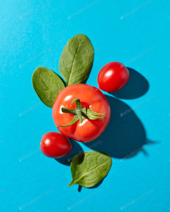 Fresh spinach leaves and juicy ripe tomatoes on a blue background with hard shadows and copy space