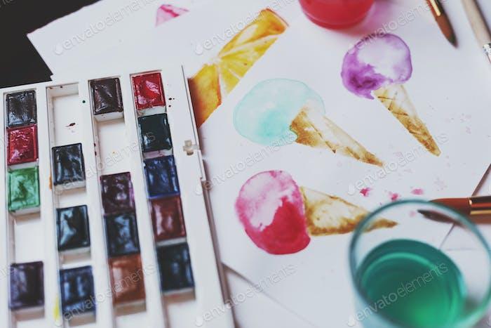 Palette of watercolor paints
