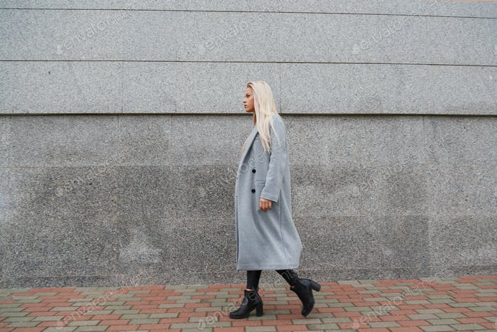 Fashion style portrait of young beautiful elegant woman in gray fur coat walking at city street