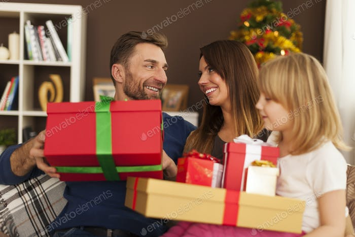 Happy family in christmas time at home