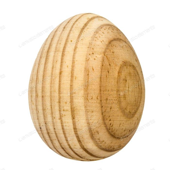Decorative wooden egg, isolated on white background