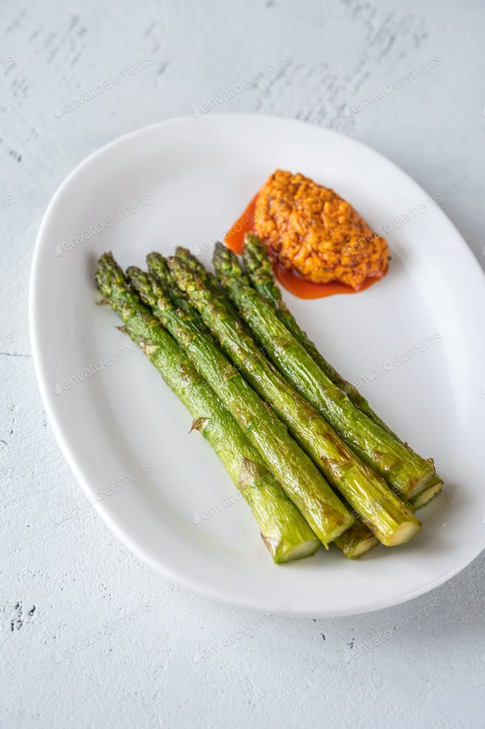 Fried asparagus with romesco sauce