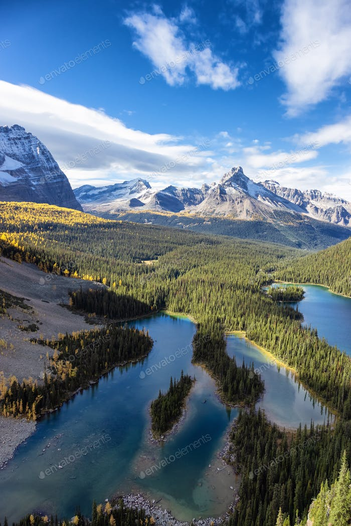 Scenic View of Glacier Lake with Canadian Rocky Mountains